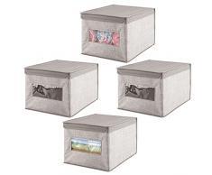 mDesign scatola per armadio in stoffa - portaoggetti universale - scatolone ottimo pe il cambio stagione - con coperchio protettivo - grigio - Set da 4