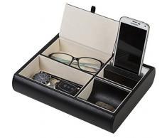 Jack Cube svuotatasche in pelle, scrivania o cassettiera Organizer, catch-all per chiavi, cellulare, portafoglio, monete, gioielli, e più (26,3 x 5,5 x 20,8 cm) - MK158