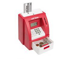 Idena 50021 - Salvadanaio digitale a forma di bancomat, con effetti sonori, colore: Rosso
