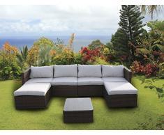 Set di mobili da giardino in rattan intrecciato, divano ad angolo, tavolo Light mixed brown