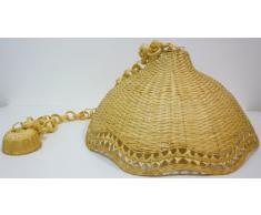 Lampadario bambù vimini e giunco appendibile
