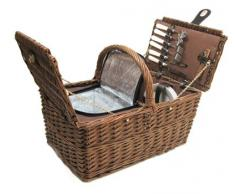 Yudu 359b - Cesto da picnic per 4 persone, in rattan, 25 pezzi