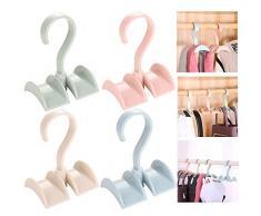 Xinlie Appendino Regolabile per Cravatta Portacravatte Classico Hook Premium Porta Cravatta Girevole Storage Rack Holder Bag Borsa Holder Borse Hook Hanger Hooks for Bag Backpack Strap Tie Scarf(4PCS)
