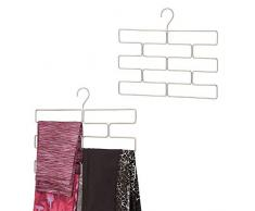 mDesign Compatto appendino per sciarpe, leggings e teli – Organizer con 8 comodi scomparti da appendere nell'armadio – Porta sciarpe in metallo – argento opaco