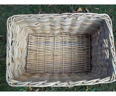 Cesto porta legna, scaffale cesto camino cestino, raccolto cestino in Rattan, taglia 1, naturale