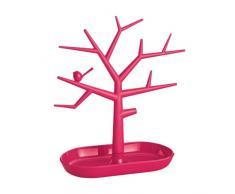 Alberello portagioie in plastica colorata rossa con vaschetta svuotatasche. Misure 24xh.30cm