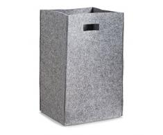 Zeller 14265–Cesto portabiancheria, feltro, plastica, grigio, 35x 30x 55cm