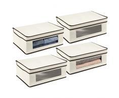 mDesign Set da 4 scatole portabiancheria - Scatole per armadi con coperchio e finestra trasparente - Scatola contenitore rettangolare in tessuto sintetico per vestiti e accessori - crema/marrone