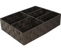 Compactor Cesto, 3 Scomparti, 32 x 25 x 8 cm, Tessuto Intrecciato, Talpa, Tessuto, Beige