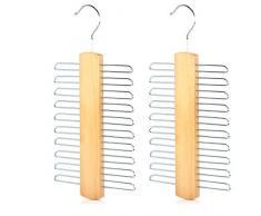 Mein HERZ 2 Pz Portacravatte, Portacravatte di Legno Tie Rack per 20 Cravette, Gruccia portacravatte in Legno e Metallo Cromato per 20 Cravatte 15 x 30 cm