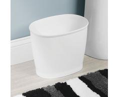 InterDesign Kent Bathware, Cestino Rifiuti Ovale per Bagno, Cucina, Ufficio - Bianco