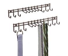 mDesign porta cravatte e portacinture con ganci – portacravatte a muro in metallo inossidabile – ideale per cravatte, cinture, foulard, collane e indumenti – colore: bronzo - Set da 2