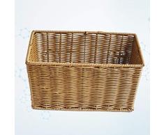TOPBATHY Cesto portaoggetti in Vimini Cestino Rettangolare in Rattan Seagrass per Cucina mensole da Bagno 30 * 20 * 15cm