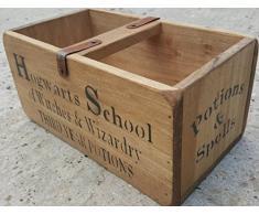 """Harry Potter - Scatola in legno a doppio contenitore con scritta """"Hogwarts School"""", stile antico vintage, dimensioni medie"""