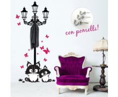 00739 Adesivi murali ''Lampione gatti e farfalle appendiabiti'' - Stickers adesivi - 82x170 cm - Fucsia, nero - Decorazione parete, adesivi per muro, carta da parati