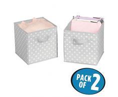 mDesign Set da 2 capienti ceste portagiochi - Pratiche scatole per armadi versatili e salvaspazio - grigio/bianco