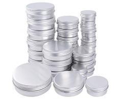 JNCH 30pz Vasetti Vuoti in Alluminio Lattine Vasi Piccoli Contenitori Metallo con Coperchio Scatola Rotonda Fai da Te (10pz 15ml, 10pz 30ml, 10pz 60ml)