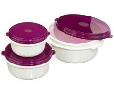 Emsa 508455 Micro Family Contenitori salvafreschezza, set da 3 0.5 / 1.0 / 1.5 l, colore: Bianco/Viola
