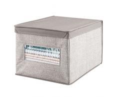 mDesign Scatola contenitore con coperchio - Scatola per armadio in tessuto - Perfetta anche come contenitore per ufficio - Soluzione pratica e multiuso - Colore: beige