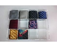 Espositore Porta Cravatte portacravatte in plexiglass Trasparente (12 Scomparti)