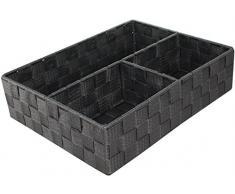 Compactor Cesto 3 Scomparti Cesto, 3 Scomparti, 32 x 25 x 8 cm, Tessuto Intrecciato, Tessuto, Grigio