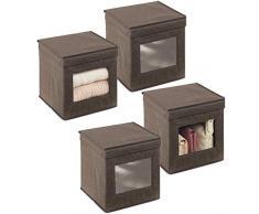 mDesign Set da 4 scatole portabiancheria - Scatole per armadi con coperchio e finestra in plastica - Scatola contenitore quadrata in tessuto sintetico per riporre vestiti e accessori - marrone scuro