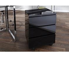 Invicta Interior - Cassettone moderno Big Deal su ruote, con 3 cassetti, finitura lucida, colore nero