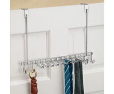 InterDesign Classico Appendiabiti da porta, Attaccapanni design in metallo cromato con 14 ganci ideale per cinte e cravatte, argento