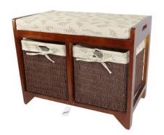 Geko Cambourne - Cassapanca in legno e vimini, dimensioni: 58 x 34 x 45 cm