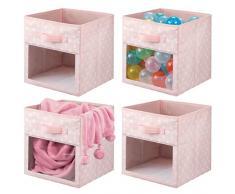 mDesign Set da 4 Contenitori per armadio - Scatole per armadi per coperte o vestitini - Scatola portaoggetti in fantasia a pois e con finestrella e maniglia - rosa e bianco