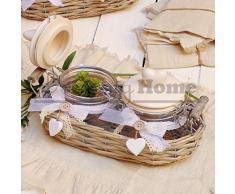 Set due vasetti con tappo ermetico in cestino rattan con fiocco e cuore Angelica Home & Country