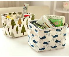 Westeng Cesta portaoggetti in lino e cotone per scrivania, cosmetici, giocattoli, scatola portaoggetti quadrata con motivo balena