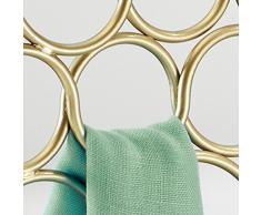 InterDesign Axis Appendino porta sciarpe con 18 anelli, Organizer per guardaroba ideale per sciarpe, foulard, cravatte e cinture in metallo, oro