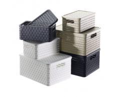 Rotho 1116801100 Cesta Country effetto rattan in plastica (PP), contenitore di design, quadrato, capienza circa 14 l, ca. 32.8 x 30 x 16 cm, bianco