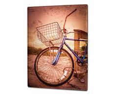 Cartello Targa in Metallo XXL Nostalgico Bicicletta Cestino della bicicletta duna