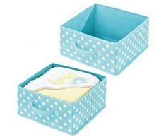 mDesign Set da 2 scatole porta oggetti in fibra sintetica - Scatole per armadi e cassetti con manico e pois - Organizer armadio per bagno, camera da letto o cameretta - turchese e bianco