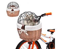 seawe Cestino per Bici per Cani, Cestino per Bicicletta Posteriore in Vimini con Griglia Protettiva per Donna Cestino per Bici in Tessuto Manubrio Anteriore Cesto per Bicicletta in Vimini Custodia