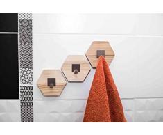 Ganci in legno per asciugamani, ganci da parete in legno, portasciugamani da bagno, appendiabiti moderno, appendiabiti da parete, montaggio a parete a nido d'ape