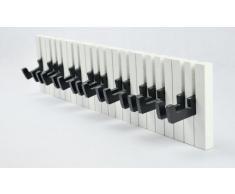 GMMH, Appendiabiti a parete, design: Pianoforte, 16 ganci, Bianco/Nero