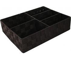 Compactor Cesto, 3 Scomparti, 32 x 25 x 8 cm, Tessuto Intrecciato, Tessuto, Cioccolato