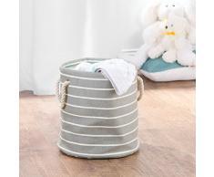 mDesign scatola per armadio in cotone - portaoggetti universale ideale per la cameretta - scatolone ottimo per il cambio stagione dei neonati- colore: grigio/crema