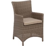 Kettler – Sedia da giardino Maison 0105002 – 1500 Lounge Mobili in vimini NATURALE IN Champagne, intrecciato 5 mm semicircolare L/B/H circa 60/57/86 cm
