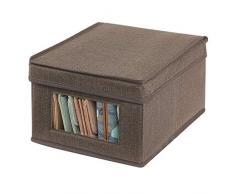 mDesign Portabiancheria con coperchio e finestra - Sostituisce le classiche scatole per armadi - Scatola contenitore rettangolare in tessuto per riporre vestiti e accessori - marrone scuro