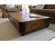 Tavolino da salotto vintage a forma di baule/cassapanca in stile shabby chic, in legno di noce massiccio