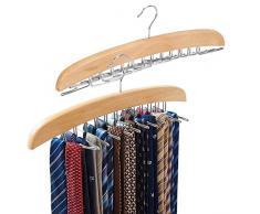 Portacravatte di Legno, EZOWare Organizzatore Armadio Tie Rack per Cravette, Cinture, Sciarpe – Beige, Confezione da 2