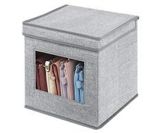 mDesign Portabiancheria con coperchio e finestra in plastica - Sostituisce le classiche scatole per armadi - Scatola contenitore quadrata in tessuto sintetico per riporre vestiti e accessori - grigio