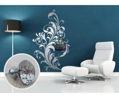 00506 Adesivo murale con pomelli stile Swarovski per appendiabiti Wall Art - Floreale elegante gioiello - Misure 96x160 cm - argento - Decorazione parete, adesivi per muro, carta da parati