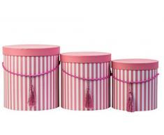 Set di 3 scatole rotonde con coperchio, a righe, viola, con cordoncino e nappa, scatola per cappelli, scatola decorativa con strisce, scatola per fiori rotonda, Cartone, Rosa, 24 x 25,5 cm