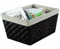Rangement & Cie Mambo RAN6509 - Cesto in giungo intrecciato con fodera interna, colore: cioccolato