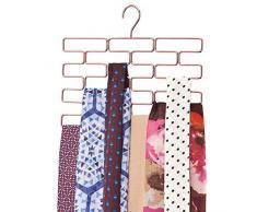 mDesign Appendino per sciarpe – Pratico porta sciarpe in metallo con 18 scomparti rettangolari – Comodo organizer da armadio per sciarpe, cravatte, cinture, e altri accessori – oro rosato